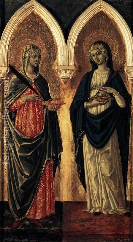 Sts Agatha and Lucy 1480s by Guidoccio Cozzarelli - Reproduction Oil Painting