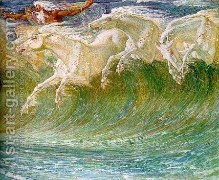 The Horses of Neptune (detail) 1892 by Walter Crane - Reproduction Oil Painting