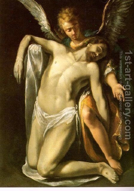 The Dead Christ Supported by an Angel by Daniele Crespi - Reproduction Oil Painting