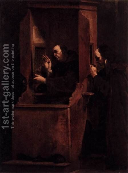 Confession 1712 by Giuseppe Maria Crespi - Reproduction Oil Painting