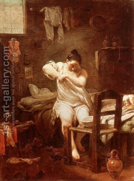 The Flea 1707-09 by Giuseppe Maria Crespi - Reproduction Oil Painting