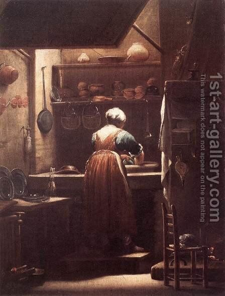 The Scullery Maid 1710-15 by Giuseppe Maria Crespi - Reproduction Oil Painting