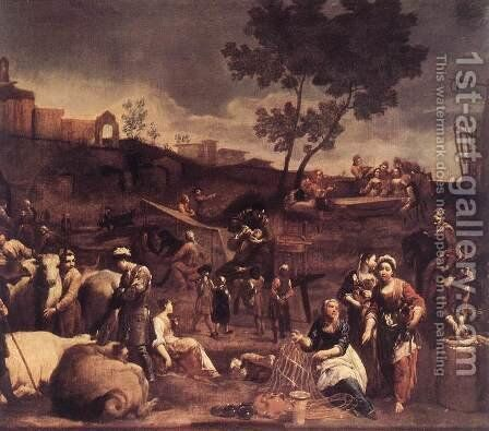 Village Fair c. 1709 by Giuseppe Maria Crespi - Reproduction Oil Painting
