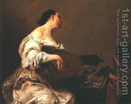 Woman Playing a Lute, 1700-05 by Giuseppe Maria Crespi - Reproduction Oil Painting