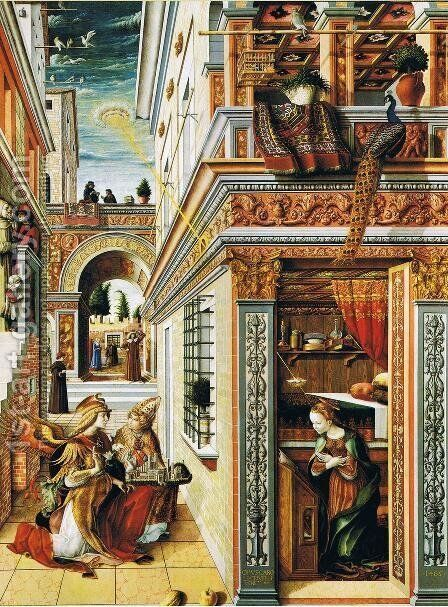 Annunciation with St Emidius 1486 by Carlo Crivelli - Reproduction Oil Painting