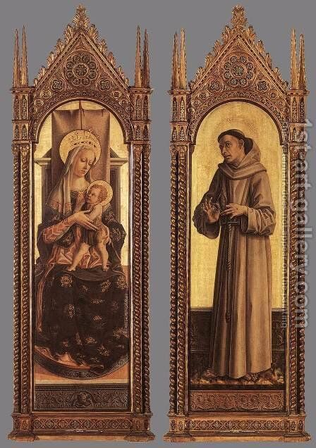 Madonna and Child; St Francis of Assisi 1471-72 by Carlo Crivelli - Reproduction Oil Painting