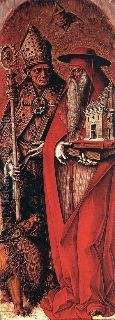 St Jerome and St Augustine c. 1490 by Carlo Crivelli - Reproduction Oil Painting