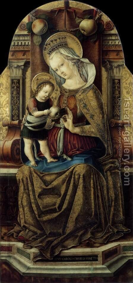 Virgin and Child Enthroned c. 1476 by Carlo Crivelli - Reproduction Oil Painting