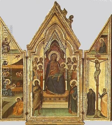 Triptych 1335-40 by Bernardo Daddi - Reproduction Oil Painting