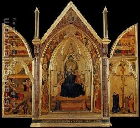 Triptych c. 1333 by Bernardo Daddi - Reproduction Oil Painting