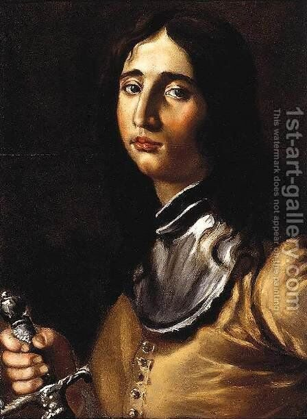 Portrait of a Young Soldier with a Lance by Cesare Dandini - Reproduction Oil Painting