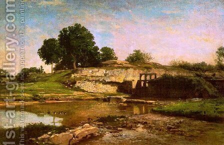 The Flood Gate at Optevoz 1859 by Charles-Francois Daubigny - Reproduction Oil Painting