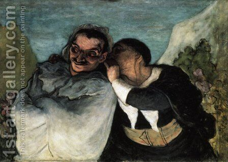 Crispin and Scapin 1858-60 by Honoré Daumier - Reproduction Oil Painting