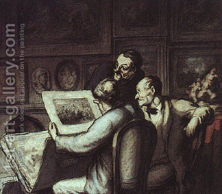 The Print Collectors by Honoré Daumier - Reproduction Oil Painting