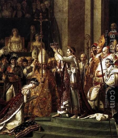 Consecration of the Emperor Napoleon I (detail 2) 1805-07 by Jacques Louis David - Reproduction Oil Painting