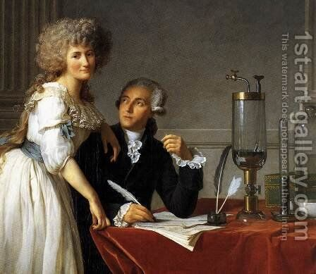 Portrait of Antoine-Laurent and Marie-Anne Lavoisier (detail) 1788 by Jacques Louis David - Reproduction Oil Painting