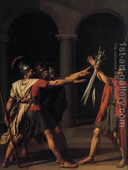The Oath of the Horatii (detail 1) 1784 by Jacques Louis David - Reproduction Oil Painting