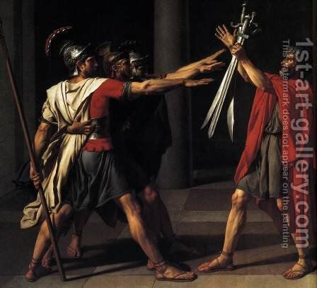 The Oath of the Horatii (detail 2) 1784 by Jacques Louis David - Reproduction Oil Painting
