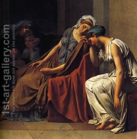 The Oath of the Horatii (detail 3) 1784 by Jacques Louis David - Reproduction Oil Painting