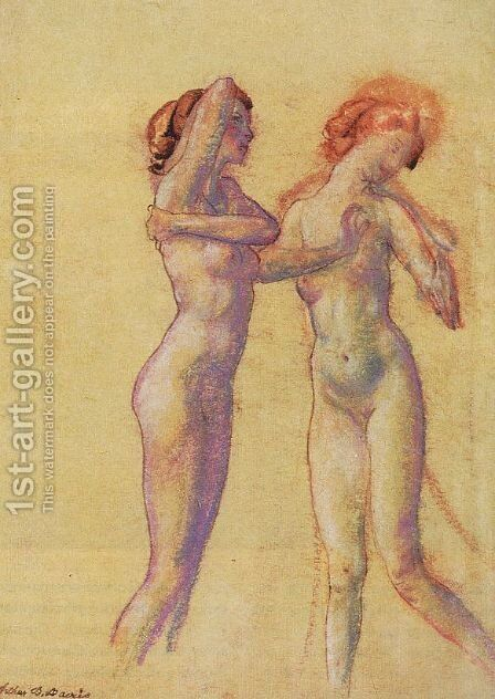 Two Standing Female Nudes by Arthur Bowen Davies - Reproduction Oil Painting