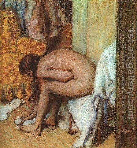 After the Bath- Woman Drying her feet 1886 by Edgar Degas - Reproduction Oil Painting