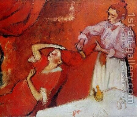 Combing the Hair (unfinished) 1895 by Edgar Degas - Reproduction Oil Painting