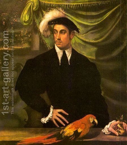 Portrait of a Gentleman with a Parrot 1552-55 by Niccolo dell' Abbate - Reproduction Oil Painting