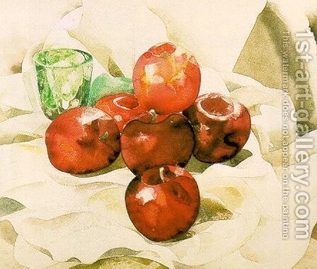 Still Life with Apples and a Green Glass 1925 by Charles Demuth - Reproduction Oil Painting