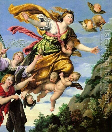 The Assumption of Mary Magdalene into Heaven 1620 by Domenichino (Domenico Zampieri) - Reproduction Oil Painting
