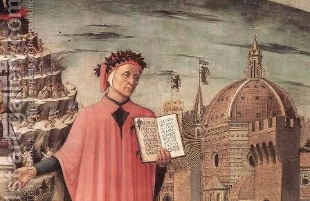 Dante Illuminating Florence with his Poem (detail 2) 1465 by Domenico Di Michelino - Reproduction Oil Painting