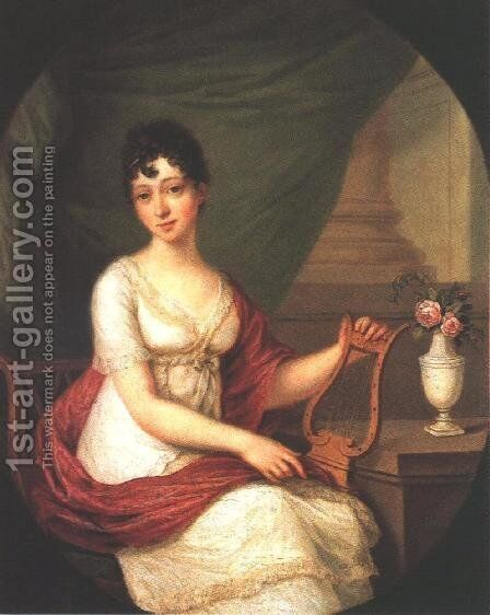 Woman Playing the Lute 1811 by Janos Donat - Reproduction Oil Painting