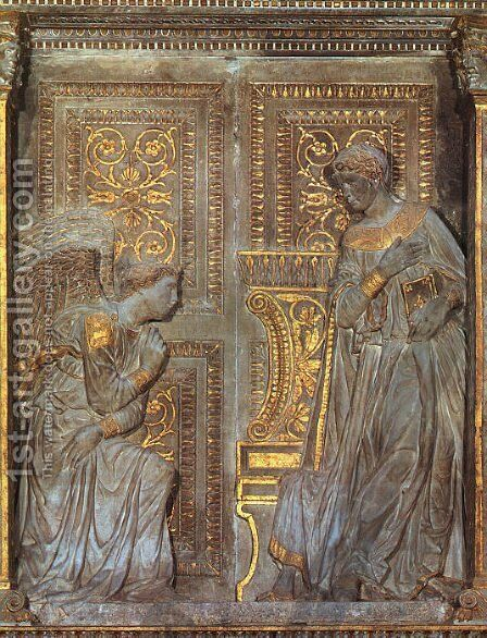 The Annunciation  1420s by Donatello - Reproduction Oil Painting