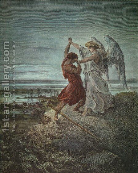 Jacob Wrestling with the Angel 1855 by Gustave Dore - Reproduction Oil Painting