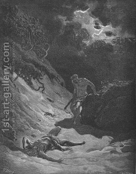 The Murder of Abel by Gustave Dore - Reproduction Oil Painting