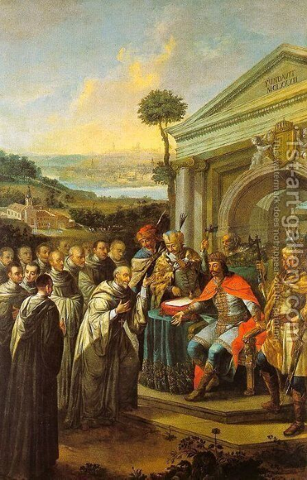 Béla III Founding the Cistercian Monastery at Szentgotthárd in 1183, 1795-96 by Istvan Dorfmeister - Reproduction Oil Painting