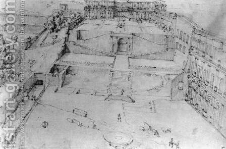 Belvedere Courtyard in the Vatican Palace 1558-61 by Giovanni Antonio Dosio - Reproduction Oil Painting
