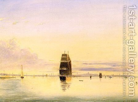 Boston Harbor at Sunset 1884 by Clement Drew - Reproduction Oil Painting