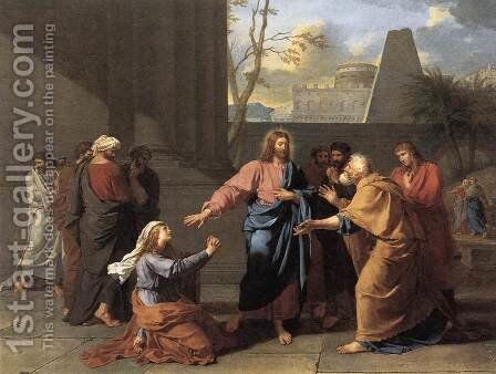 The Woman of Canaan at the Feet of Christ 1784 by Jean-Germain Drouais - Reproduction Oil Painting