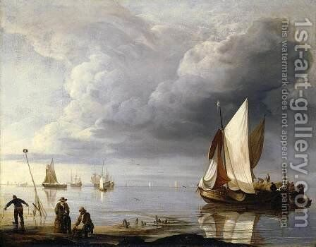 Small Dutch Vessels in a Calm after 1670 by Hendrik Jakobsz. Dubbels - Reproduction Oil Painting