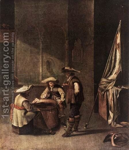 Guardroom with Soldiers Playing Cards by Jacob Duck - Reproduction Oil Painting