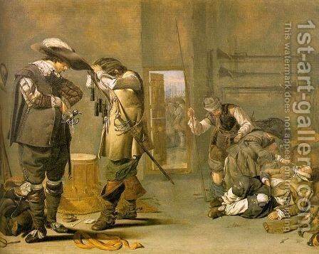 Soldiers Arming Themselves 1630s by Jacob Duck - Reproduction Oil Painting