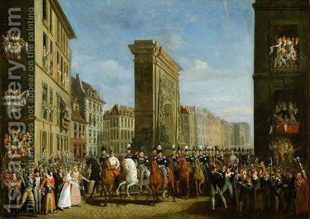 Passage of Allied Sovereigns in Front of the Porte Saint-Denis by Jean Zippel - Reproduction Oil Painting