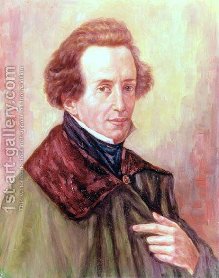 Portrait of Felix Mendelssohn by Gustav Zerner - Reproduction Oil Painting