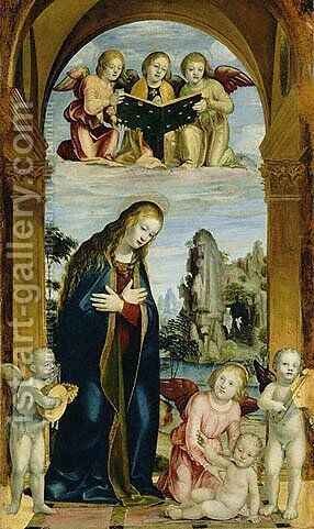 Madonna Adoring the Child with Musical Angels by Bernadino Zenale - Reproduction Oil Painting