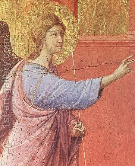 Annunciation (detail) 1308-11 by Duccio Di Buoninsegna - Reproduction Oil Painting