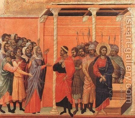 Christ Accused by the Pharisees 1308-11 by Duccio Di Buoninsegna - Reproduction Oil Painting