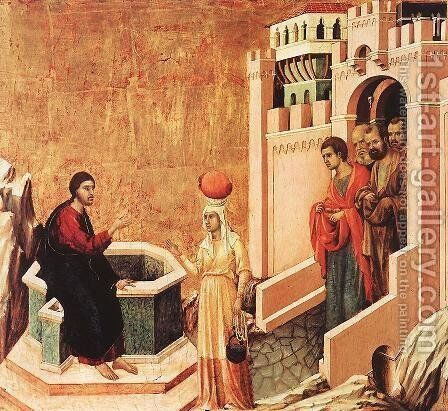 Christ and the Samaritan 1308-11 by Duccio Di Buoninsegna - Reproduction Oil Painting