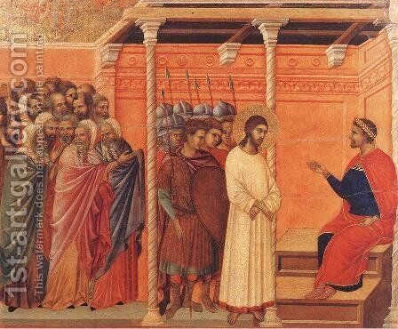 Christ Before Pilate Again 1308-11 by Duccio Di Buoninsegna - Reproduction Oil Painting