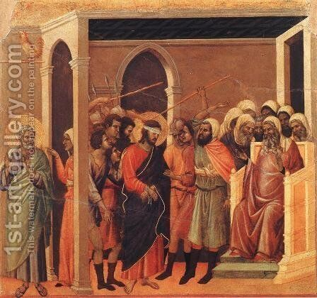 Christ Mocked 1308-11 by Duccio Di Buoninsegna - Reproduction Oil Painting