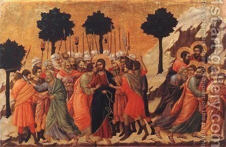 Christ Taken Prisoner 1308-11 by Duccio Di Buoninsegna - Reproduction Oil Painting